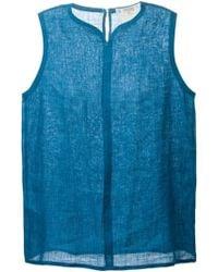 Yves Saint Laurent Vintage Sleeveless Blouse blue - Lyst