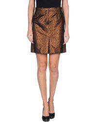 McQ by Alexander McQueen Knee Length Skirt gold - Lyst