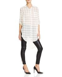 Lush - Sheer Plaid Tunic Top - Lyst