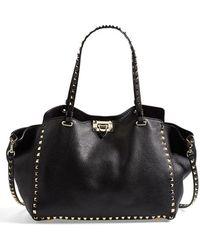 Valentino 'Medium Rockstud' Leather Tote - Lyst