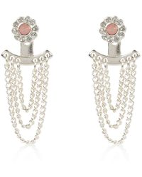 River Island | Silver Tone Chain Front And Back Earrings | Lyst