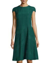 Oscar de la Renta Textured Fit-And-Flare Cap-Sleeve Dress - Lyst