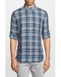 John Varvatos Slim Fit Plaid Linen Sport Shirt blue - Lyst