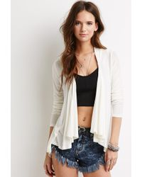 Forever 21 Hooded Open-Front Cardigan - Lyst