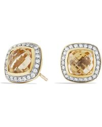 David Yurman Albion Earrings With Champagne Citrines And Diamonds In Gold - Lyst