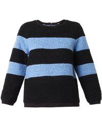 Tibi Textured Wool-blend Striped Sweater - Lyst