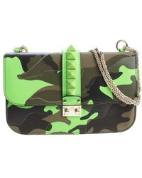 Valentino Green Leather and Fabric Camouflage Chain Shoulder Bag - Lyst