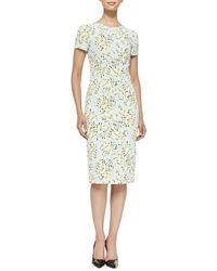 Carolina Herrera Daisy Pigment Cloque Sheath Dress - Lyst