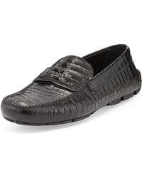 Prada Stamped Croc Loafer - Lyst