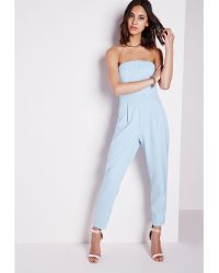 Missguided Tailored Bandeau Jumpsuit Baby Blue - Lyst