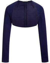 Zac Posen Structured Cotton-Blend Bolero blue - Lyst