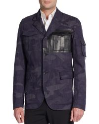 Valentino Leather-trimmed Camo Print Jacket - Lyst