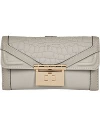 River Island Grey Quilted Croc Clip Top Purse - Lyst