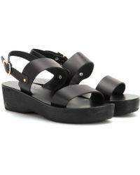 Ancient Greek Sandals Dinami Sabot Leather Sandals black - Lyst