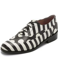 Boutique Moschino - Leather Oxfords - Black/white - Lyst