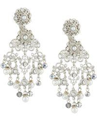 Jose & Maria Barrera | Silvertone Crystal & Pearly Filigree Chandelier Earrings | Lyst