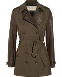 Burberry Brit Leathersleeved Gabardine Trench Coat - Lyst