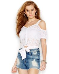 Guess V-Neck Sheer Lace Top - Lyst