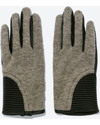 Zara Faux Leather Combined Short Gloves - Lyst