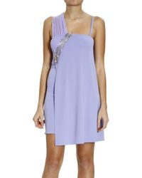 Versace Grid Shoulder Dress With Zip And Rhinestone - Lyst