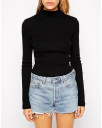 Asos Tall Crop Top With Long Sleeves And Turtleneck In Rib - Lyst