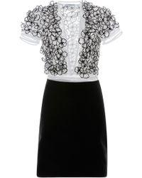 Blumarine Flower Embellished V-neck Combo Dress - Lyst
