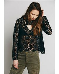 Free People Lace Cutout Top - Lyst
