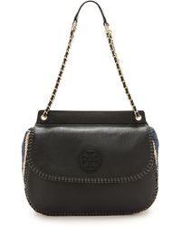 Tory Burch Marion Crochet Straw Saddle Bag - Black - Lyst