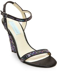 Betsey Johnson Darci Satin And Glitter Wedge Sandals black - Lyst