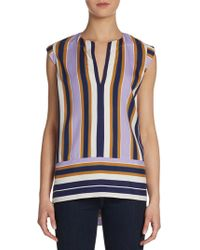 Halston Heritage Silk Striped Shirt - Lyst