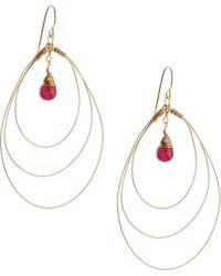 Rafia - 3-hoop Teardrop Earrings W/ Ruby Center - Lyst