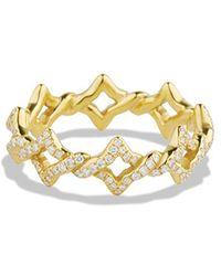 David Yurman Venetian Quatrefoil Stacking Ring with Diamonds in Gold - Lyst