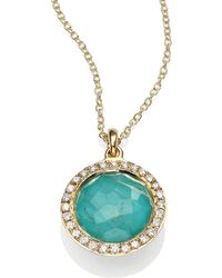 Ippolita Lollipop Turquoise Rutilated Quartz Diamond 18k Yellow Gold Mini Pendant Necklace - Lyst