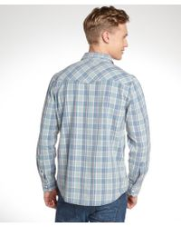 3rd & Army - Blue And Cream Cotton Long Sleeve Flannel - Lyst