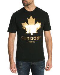 DSquared² Gold Mapple Black Tshirt - Lyst
