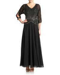 J Kara - Hand Beaded Sequined Gown - Lyst