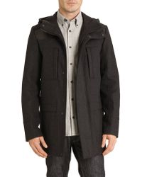 Hugo Zipped Duffle Coat In Anthracite Grey With Faux Leather Panelling - Lyst