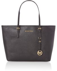 Michael Kors Jet Set Travel Medium Black Tote Bag - Lyst