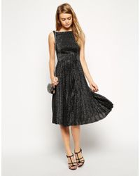 Asos Vintage Midi Skater Dress In Pleated Lurex With Open Back Detail - Lyst