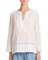 Rebecca Taylor Oahu Embroidered Cotton Peasant Blouse white - Lyst