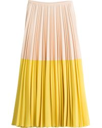 Cedric Charlier Pleated Colorblock Maxi-Skirt - Lyst