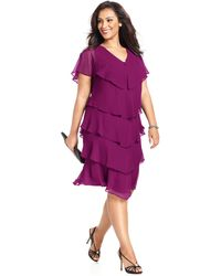Patra Plus Size Short-Sleeve Tiered Dress - Lyst
