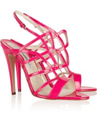 Brian Atwood Gwen Cutout Patentleather Sandals - Lyst