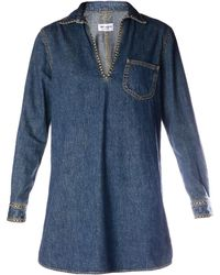 Saint Laurent Studded Denim Tunic Dress - Lyst