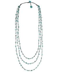 Aeravida - Blue Reconstructed Turquoise Triple Strand Long Necklace - Lyst