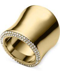 Michael Kors Gold-Tone Pavé Statement Ring - Lyst