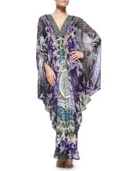 Camilla Beaded Printed Maxi Caftan Coverup - Lyst