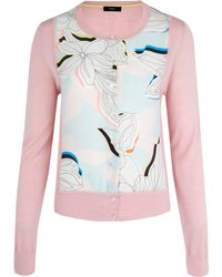 Paul Smith Black Label - Pink Miami Floral Panel Cardigan - Lyst