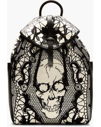 Alexander McQueen Black And Ivory Leather Lace Skull Print Backpack - Lyst