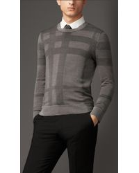 Burberry Check Crew Neck Silk Sweater - Lyst